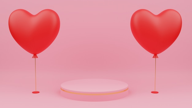 Valentine's day concept. circle podium pink pastel color with gold edge, red heart balloon.