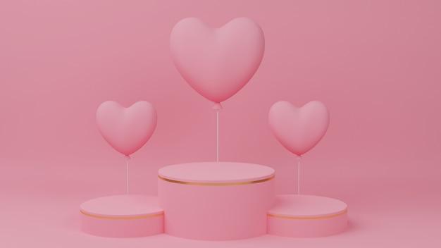 발렌타인 데이 개념. 골드 가장자리, 3 등급 및 핑크 하트 풍선이있는 원형 연단 핑크 파스텔 색상.