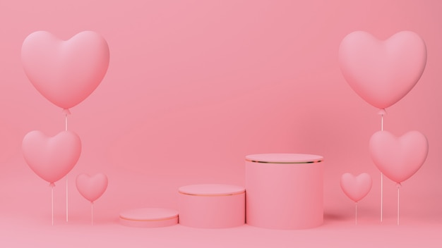 Valentine's day concept. circle podium pink pastel color with gold edge, three rank and pink heart balloon.
