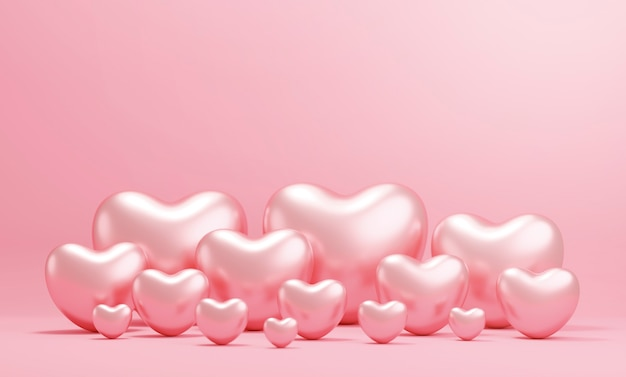 Valentine's day concept design of rose gold hearts on pink paper background