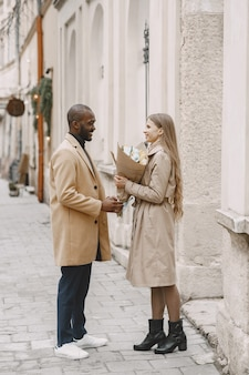 Valentine's day concept. people walks outside. mixed people in a city.