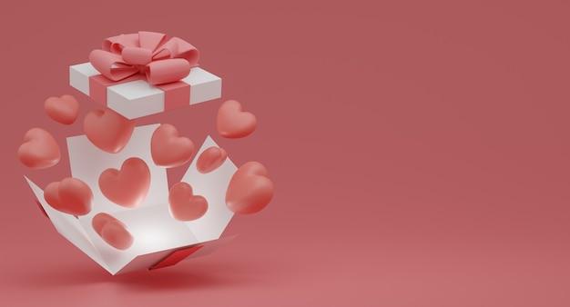 발렌타인 데이 개념, 분홍색과 흰색 하트 풍선