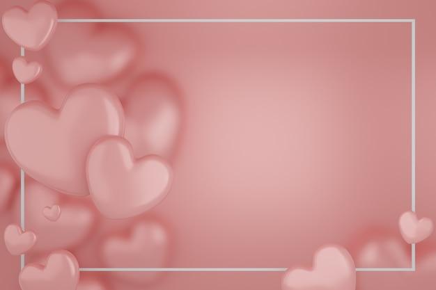バレンタインデーのコンセプト、ピンクの背景にピンクのハートの風船。 3dレンダリング。テキスト用の空きスペース。