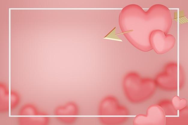 バレンタインデーのコンセプト、ピンクの背景に金色の矢印とピンクのハート。 3dレンダリング。