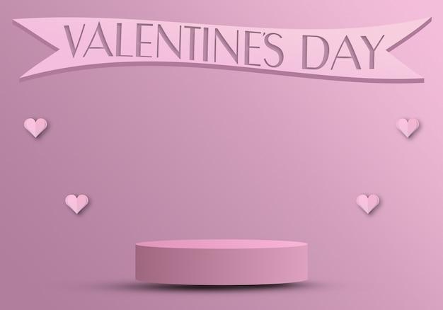 Концепция дня святого валентина, подиум для продуктов с сердечками и лентой 3d