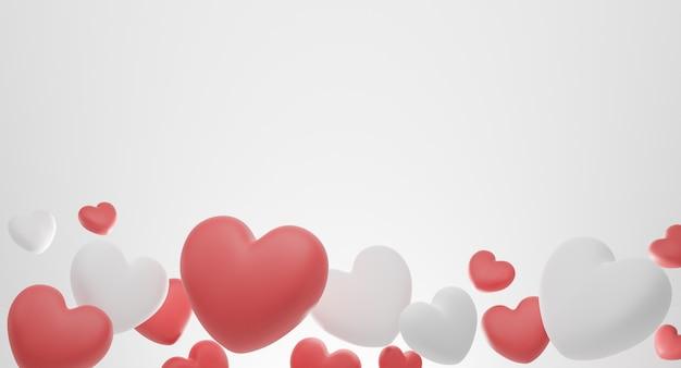 발렌타인 데이 개념, 빨간색과 흰색 하트 풍선