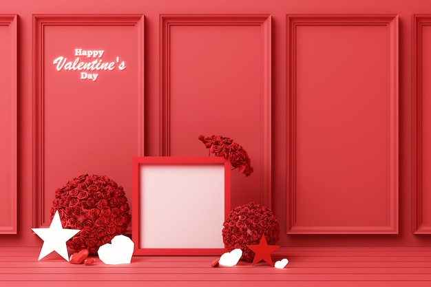 Valentine's day concept red decorate wall with red hearts with red star and decoration 3d rendering