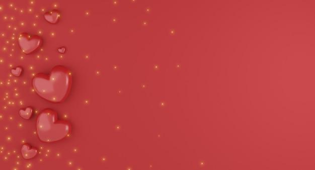 발렌타인 개념, 빨간색 배경에 빨간색 하트 풍선. 3d 렌더링. 텍스트를위한 빈 공간입니다.