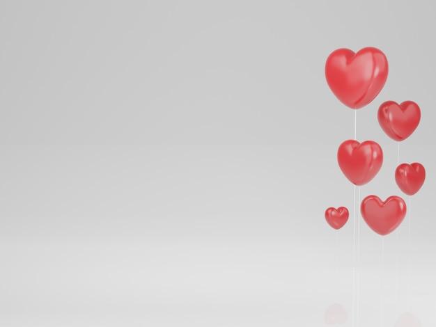 バレンタインデーのコンセプト、白い背景の上の赤いハート。 3dレンダリング。