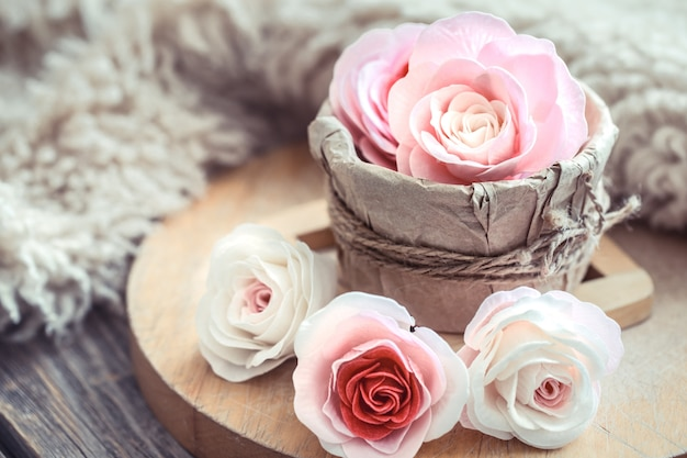 Valentine's day concept, roses on wooden table
