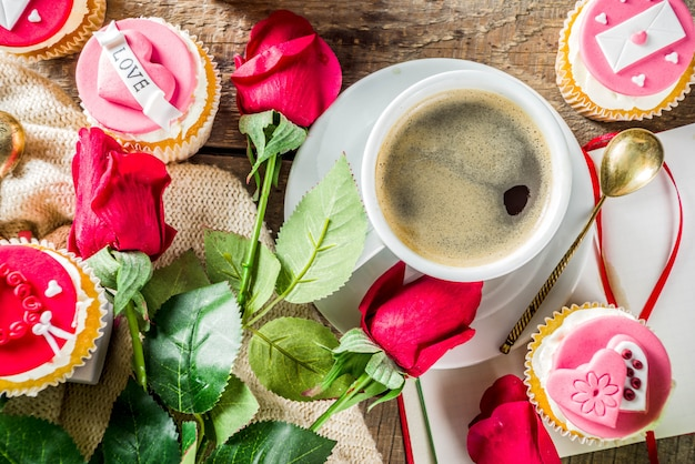 Valentine's day cupcakes with coffee cup