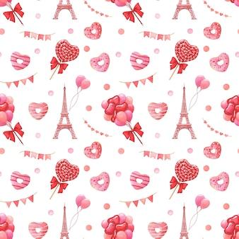 День святого валентина праздничный рисованный акварель бесшовные модели. концепция любви, путешествий и празднования