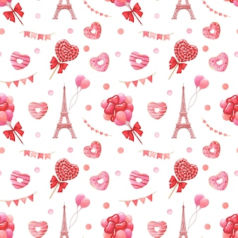 Valentine's day festive hand-drawn watercolor seamless pattern. love, travel and celebration concept