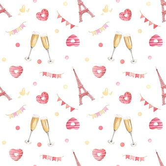 Valentine's day festive hand-drawn watercolor seamless pattern.