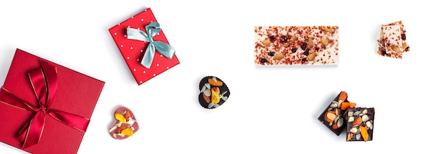 Valentine's day gifts and sweets isolated on white surface