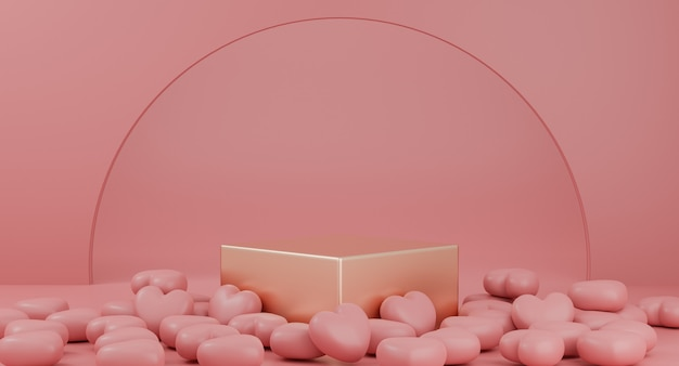 Valentine's day : gold podium or product stand with hearts symbol of love on pastel pink background with copy space. 3d rendering.