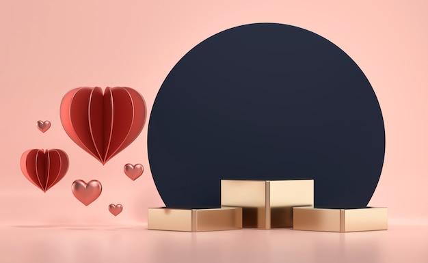 제품 쇼케이스를위한 하트 장식이있는 발렌타인 데이 골드 무대 연단 플랫폼