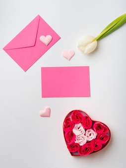 Valentine's day greeting card concept with flowers