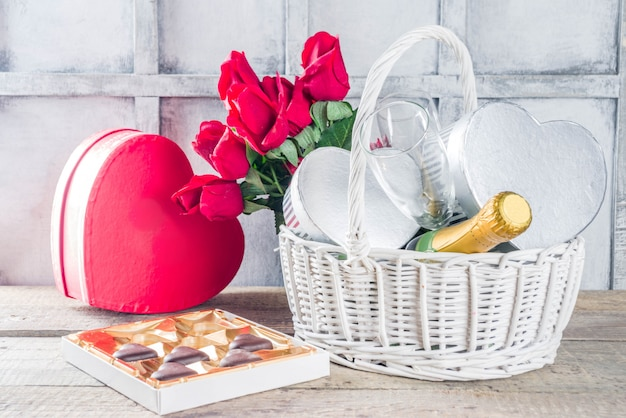Valentine's day greeting card with gifts in basket