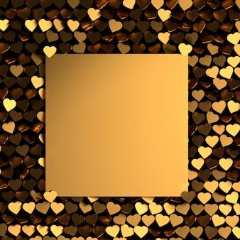 Valentine's day greeting card with many golden shiny hearts and blank card for text.