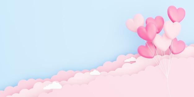 バレンタインデー、愛の概念の背景、紙の雲と空に浮かぶピンクのハート型の風船の花束の3dイラスト