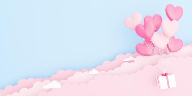 バレンタインデー、愛の概念の背景、空白の紙の雲と空に浮かぶギフトボックスとピンクのハート型の風船の花束の3dイラスト
