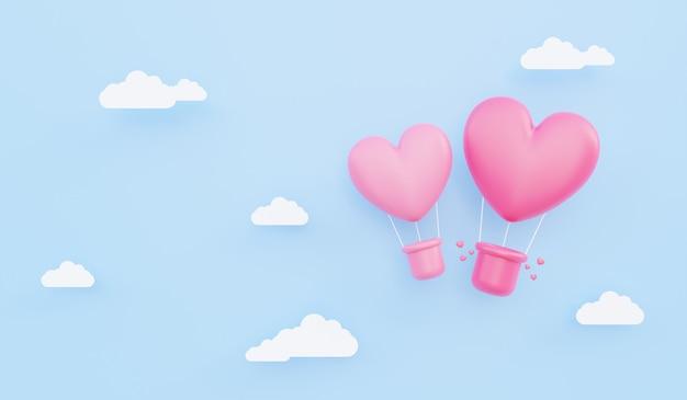 발렌타인 데이, 사랑 개념 배경, 종이 구름과 함께 하늘에 떠 있는 분홍색 하트 모양의 열기구의 3d 그림