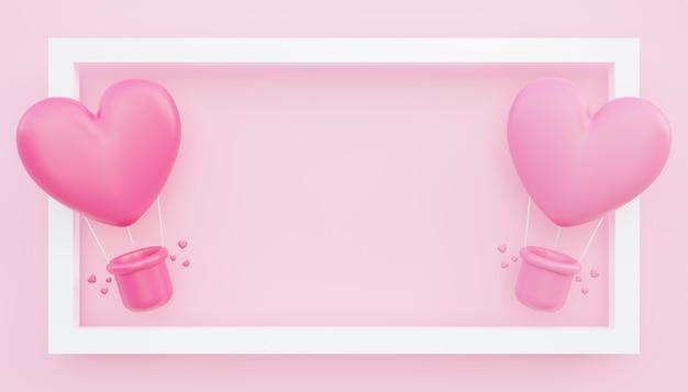 발렌타인 데이, 사랑 개념 배경, 빈 공간이 있는 프레임 밖으로 떠 있는 분홍색 하트 모양의 열기구의 3d 그림