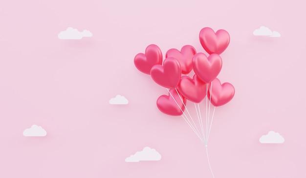 バレンタインデー、愛の概念の背景、紙の雲と空に浮かぶ赤いハート型の風船の花束の3dイラスト