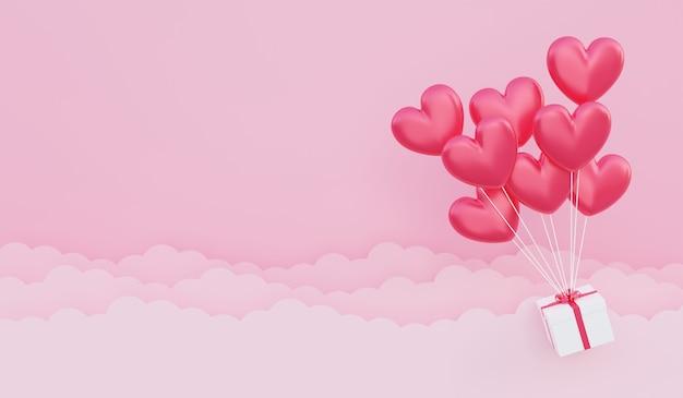 バレンタインデー、愛の概念の背景、紙の雲と空に浮かぶギフトボックスと赤いハート型の風船の花束の3dイラスト
