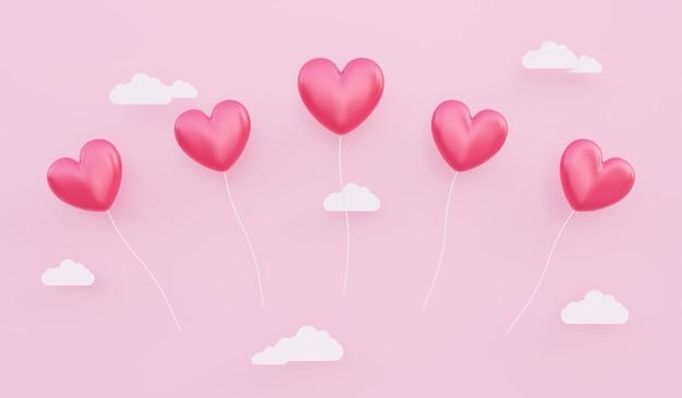 バレンタインデー、愛の概念の背景、紙の雲と空に浮かぶ赤いハート型の風船の3dイラスト