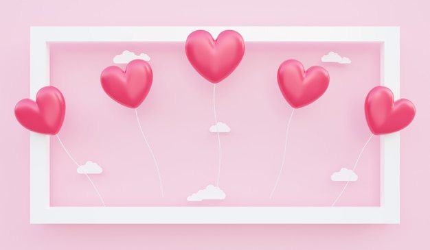 バレンタインデー、愛の概念の背景、紙の雲とフレームから浮かぶ赤いハート型の風船の3dイラスト