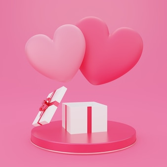 Valentine's day, love concept background, 3d opened gift box on round podium with pink heart shape floating