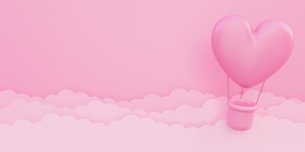 バレンタインデー、愛の概念の背景、紙の雲と空を飛んでいるピンクの3dハート型熱気球、コピースペース