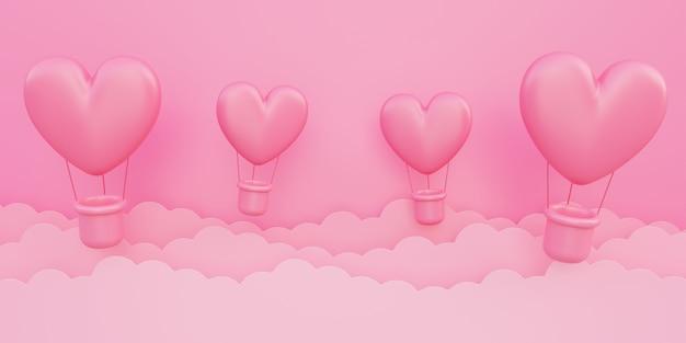 バレンタインデー、愛の概念の背景、紙の雲と空を飛んでピンクの3dハート型熱気球