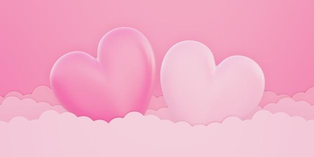 バレンタインデー、愛の概念の背景、空の雲の上のピンクと白の3dハートの形