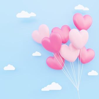 バレンタインデー、愛の概念の背景、紙の雲と空に浮かぶピンクと白の3dハート型の風船の花束