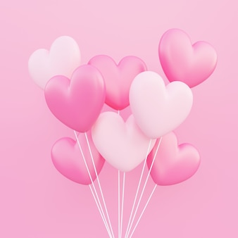 バレンタインデー、愛の概念の背景、ピンクと白の3dハート型風船花束フローティング