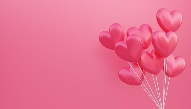 バレンタインデー、愛の概念の背景、コピースペースで浮かぶ赤い3dハート型風船花束