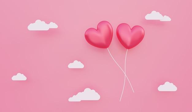 バレンタインデー、愛の概念の背景、雲と空に浮かぶ赤い3dハート型風船