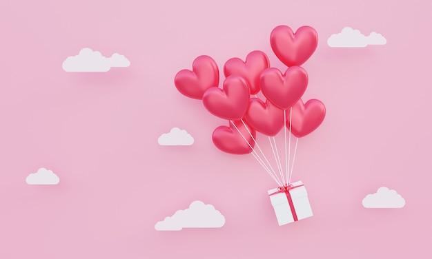 バレンタインデー、愛の概念の背景、紙の雲とピンクの空に浮かぶギフトボックスと赤い3dハート型風船