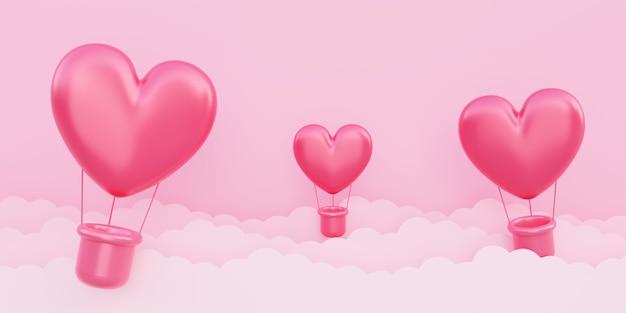 バレンタインデー、愛の概念の背景、紙の雲と空を飛んでいる赤い3dハート型熱気球