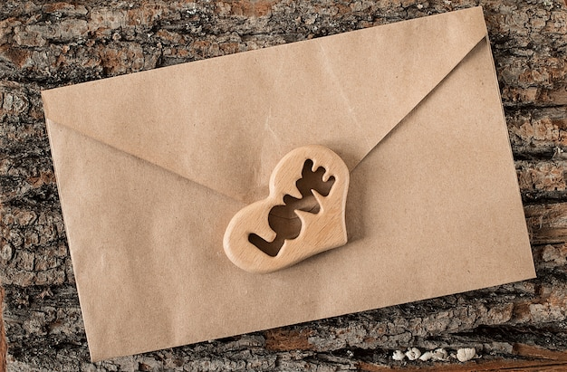 Valentine's day love letter envelope with hearts