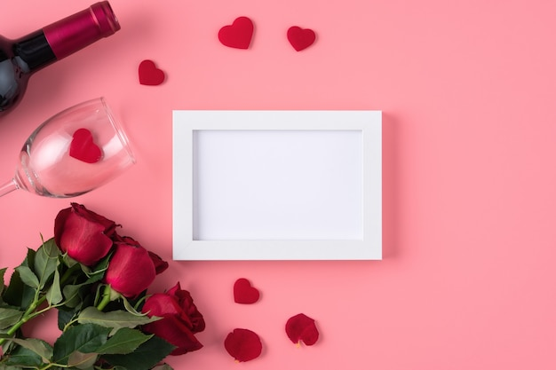 Valentine's day memory with blank picture frame on pink background design concept