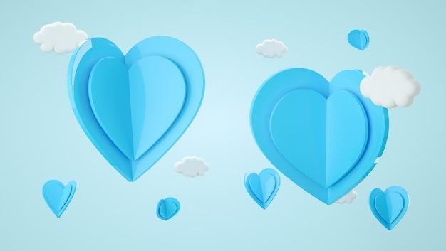 발렌타인 데이 모의 장면. 디스플레이 제품, 선물 및 광고용 모양. 3d 렌더링