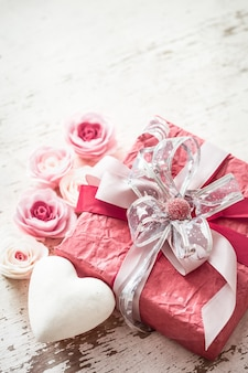 Valentine's day and mothers day concept, red gift box