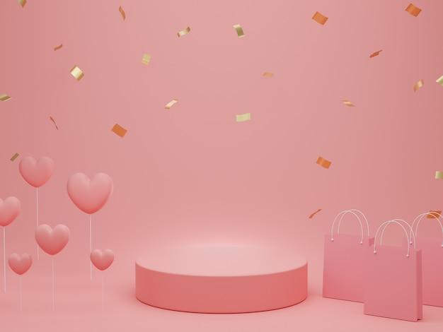 발렌타인 데이 : 연단 또는 제품은 복사 공간 파스텔 핑크 배경에 하트, 쇼핑백 및 골드 반짝이와 함께 서 있습니다. 3d 렌더링.