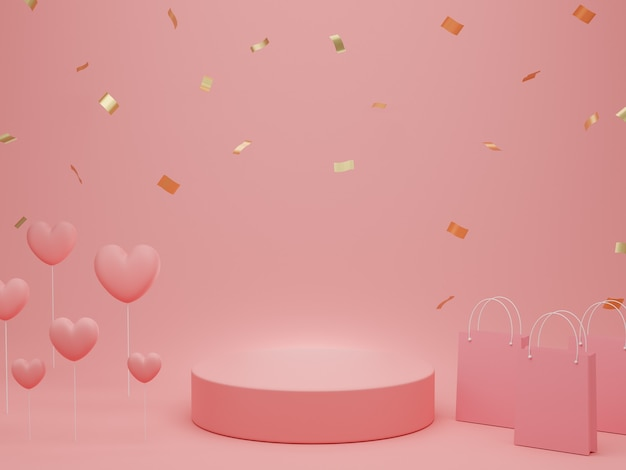 Valentine's day : podium or product stand with hearts, shopping bag and gold glitter on pastel pink background with copy space. 3d rendering.