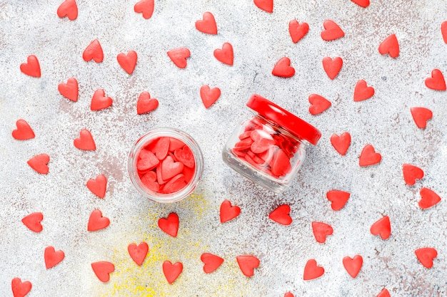Valentine's day red heart shaped sprinkles.