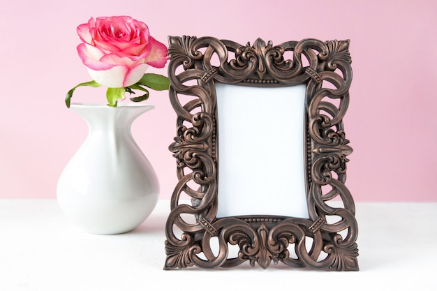 Valentine's day rose frame for text on a light background